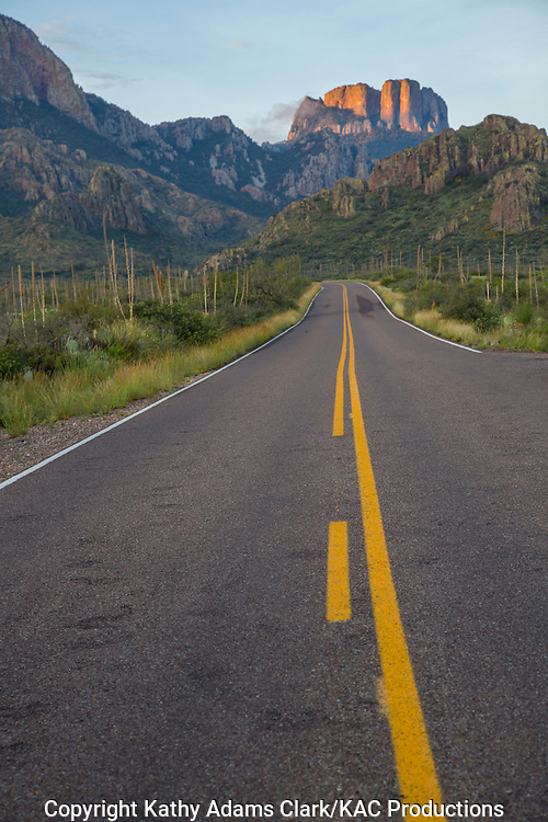 Road leading to the Chisos Mountains in Big Bend National Park, Texas. Vantage point is the Green Gulch parking area.