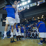 02/01/12 Newark DE: Delaware Freshman Guard #13 Kyle Anderson is introduced to the crowed prior to the start of a Colonial Athletic Association conference Basketball Game against George Mason Wed, Feb. 1, 2012 at the Bob Carpenter Center in Newark Delaware.