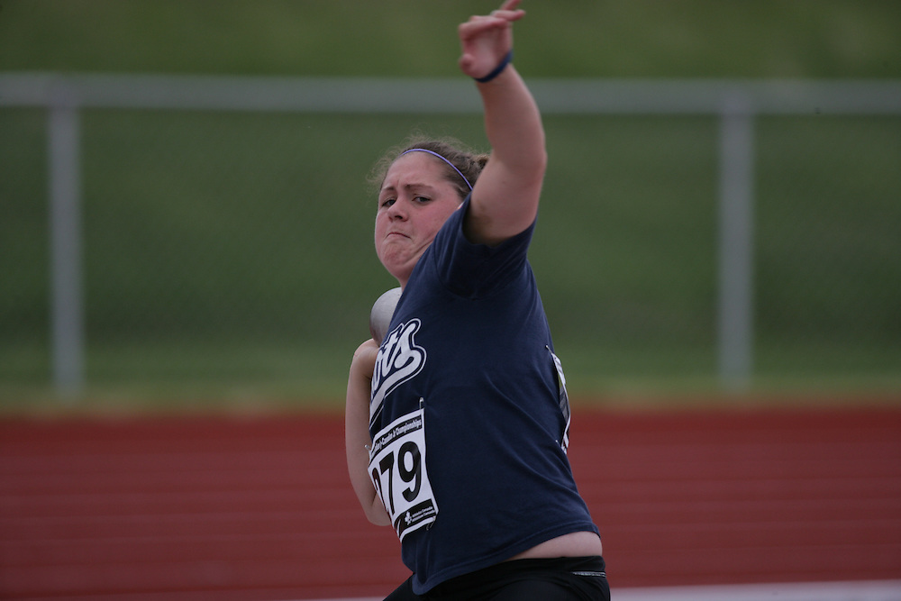 (Charlottetown, Prince Edward Island -- 20090717) Alexandra Black of Fredericton Legion Track competes in the shot put at the 2009 Canadian Junior Track & Field Championships at UPEI Alumni Canada Games Place on the campus of the University of Prince Edward Island, July 17-19, 2009.  Copyright Sean Burges / Mundo Sport Images , 2009...Mundo Sport Images has been contracted by Athletics Canada to provide images to the media.