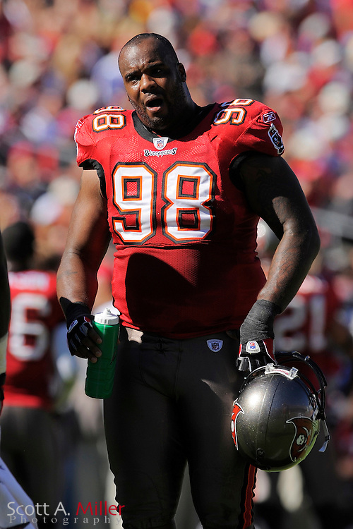 Nov. 16, 2008; Tampa, FL, USA; Tampa Bay Buccaneers defensive tackle Ryan Sims (98) during the Bucs game against the Minnesota Vikings  at Raymond James Stadium. The Bucs won 19-13. ...©2008 Scott A. Miller