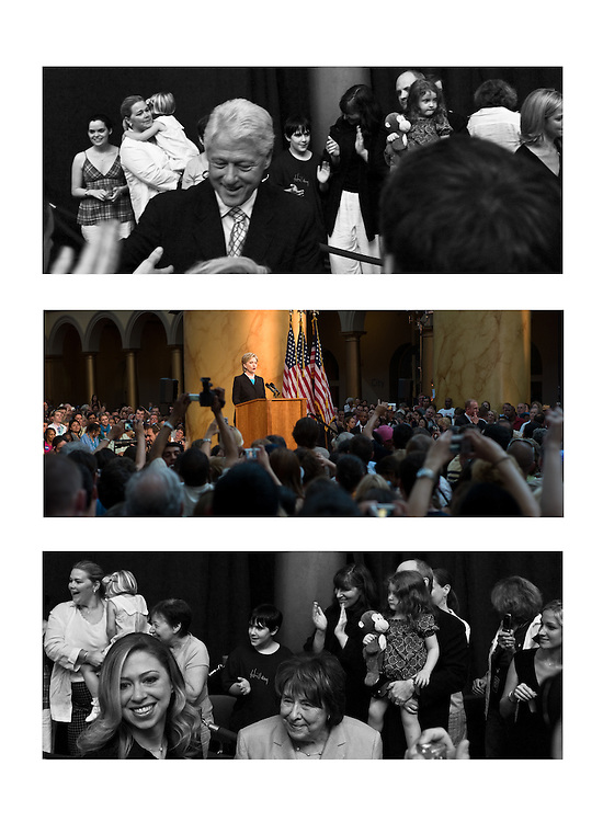 Montage of family surrounding Secretary Clinton, her 18-million crack speech, National Building Museum, Washington, DC