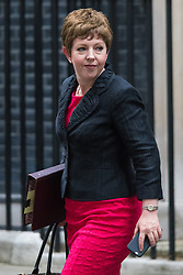 Downing Street, London, September 8th 2015.  Leader of the House of Lords Baroness Stowell,  leaves 10 Downing Street following the first cabinet meeting after the summer holidays, prior to a debate in the House of Commons on the refugee crisis.