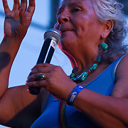 Genny Pits addresses the audience during The 19th Annual Bob Marley People's Festival Saturday July 27, 2013, at Tubman-Garrett Riverfront Park in Wilmington Delaware.
