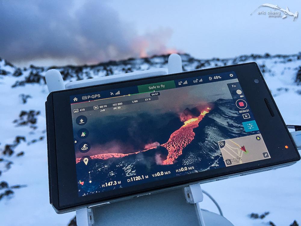 DJI Pilot app view during a DJI Inspire 1 flight over the Holuhraun eruption, Bardarbunga volcano. Sony Experia Android device.