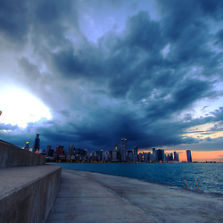 A spring thunderstorm moves in over the Chicago skyline.