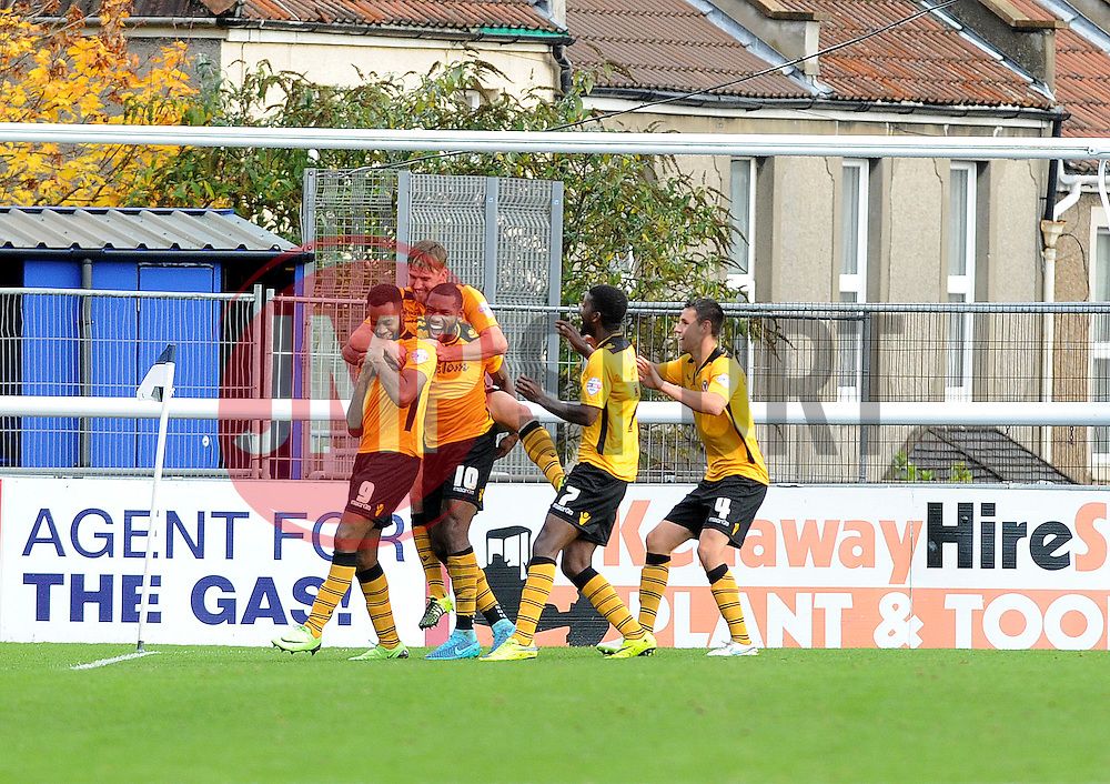 Newport County celebrate goal no.3 - Mandatory byline: Neil Brookman/JMP - 07966 386802 - 24/10/2015 - FOOTBALL - Memorial Stadium - Bristol, England - Bristol Rovers v Newport County AFC - Sky Bet League Two