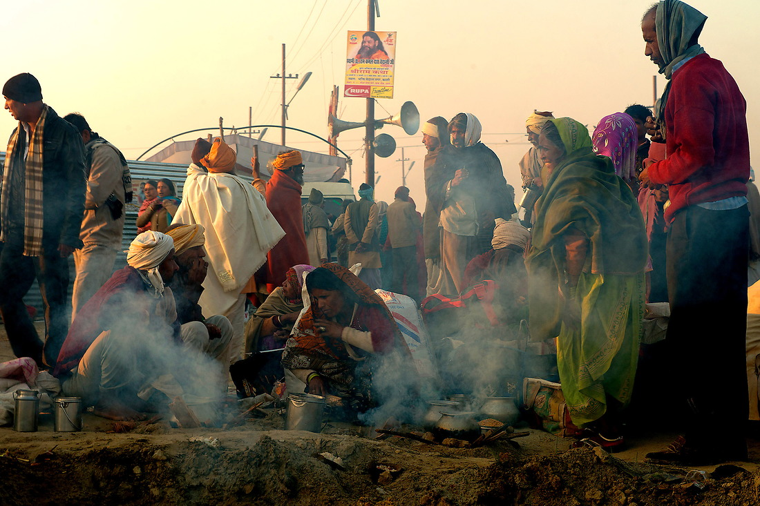 Millions of Hindu Pilgrims arrive and set up camp where ever they can find space on February 9, 2013 in Allahabad, India during the Kumbh Mela. — © Jeremy Lock/