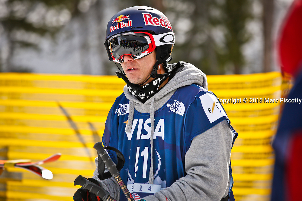SHOT 12/19/13 12:59:34 PM - Simon Dumont of Bethel, Maine gets ready to compete in the Men's Ski Halfpipe Qualifiers at the U.S. Snowboarding and Freeskiing Grand Prix on December 19, 2013 at Copper Mountain, Colorado.<br /> (Photo by Marc Piscotty / &copy; 2013)