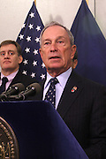October 30, 2012- Brooklyn, NY: New York City Mayor Michael Bloomberg and top City Officials update New Yorkers and the Nation of efforts and numbers on city response to Hurricane Sandy held at the Office of Emergency Management on October 30, 2012 in Downtown Brooklyn, NY. The Super Hurricane has ravaged parts of the New York City area where the storm has brought 23 serious fires to parts of Staten Island, Brooklyn, Queens as well as City Island and the Bronx, including the destruction of more than 80 houses in the Brezzy Point section of the Rockaways. (Terrence Jennings) .