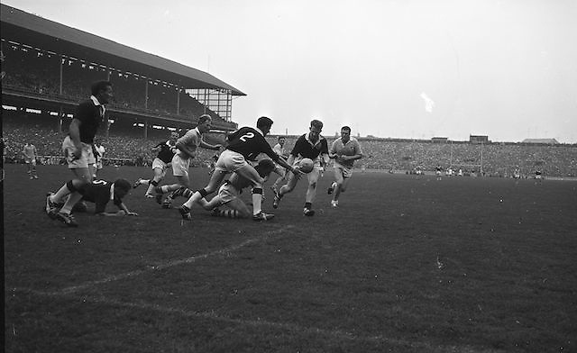 All Ireland Senior Football Final Galway v. Dublin, Croke Park..Colleran, Galway (No.2) and team-mate McDonagh have this ball safe as Dublin forwards players Ferguson and Timmons advance.22.09.1963