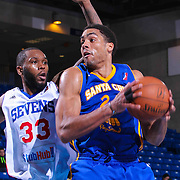Santa Cruz Warriors Forward James Michael McAdoo (24) pull down a rebound as Delaware 87ers Forward Kenny Hall (33) defends in the second half of a NBA D-league regular season basketball game between the Delaware 87ers and the Santa Cruz Warriors (Golden State Warriors) Tuesday, Jan. 13, 2015 at The Bob Carpenter Sports Convocation Center in Newark, DEL