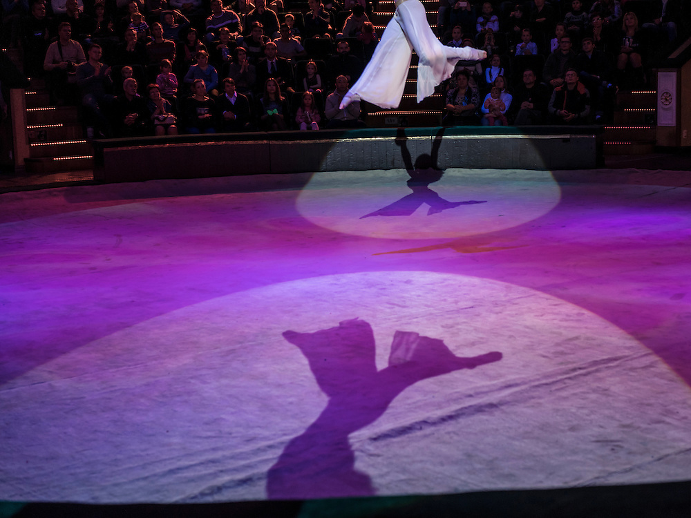 """A performer at the Belarus State Circus during a show called """"Africa!?!"""" on Wednesday, November 25, 2015 in Minsk, Belarus."""