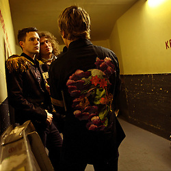 The post-punk band The Killers perform at the Hammerstein Ballroom at Manhattan Center Studios in New York, N.Y. on Oct. 24, 2008. Singer Brandon Flowers and Guitarist Dave Keuning do an MTV interview backstage.