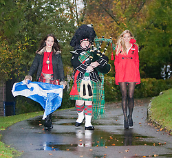 Miss Scotland Jennifer Reochs with piper Danny Sweeney and Miss England 2011 Alize Lily Mounter at Crieff Hydro..MISS WORLD 2011 VISITS SCOTLAND..Pic © Michael Schofield.