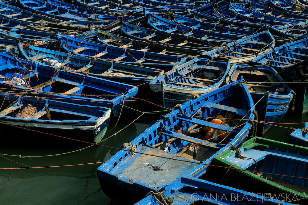 Morocco. Blue boats in Essaouira.