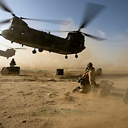 British soldiers of 3rd Battalion The Parachute Regiment are resupplied by Chinook Ch-47 helicopters during an airborne assault as part of Operation 'Southern Beast'. Kandahar Province, Afghanistan on the 3rd of August 2008.