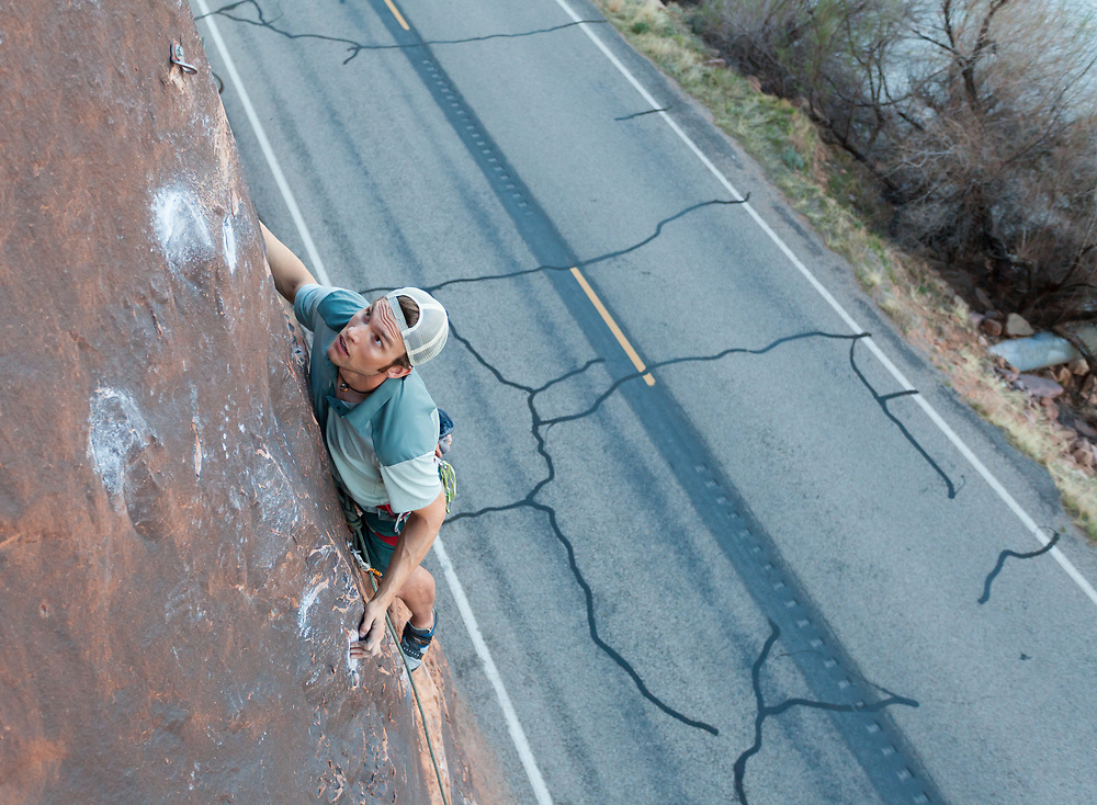 Pat Lindsay climbing Fernando, 5.11 at Wallstreet in Moab