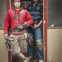 Construction workers Esteban Cabanas and Arturo Gutierrez work on a home on Third Street in Calistoga