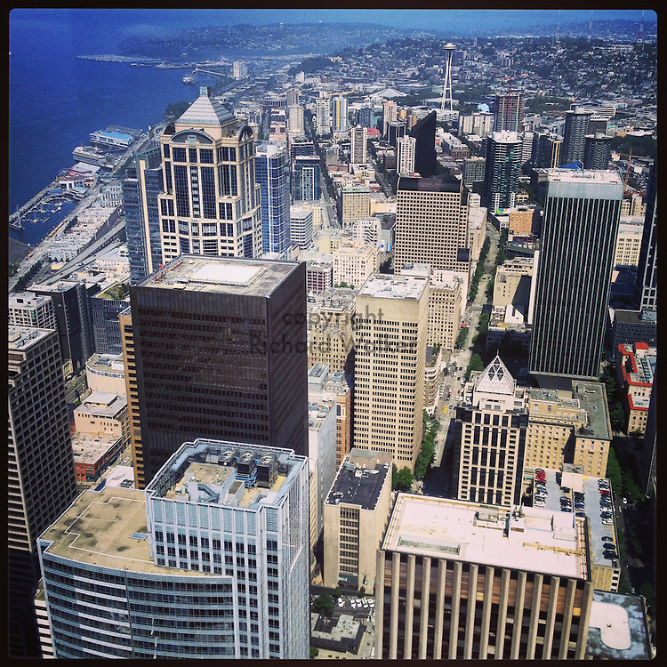 2014 June 02 - View looking north from Columbia Tower observation deck, Seattle, WA, USA. Taken/edited with Instagram App for iPhone. By Richard Walker