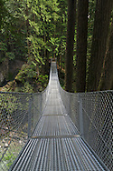 The Cascade Falls suspension bridge in Cascade Falls Regional Park near Mission, British Columbia, Canada