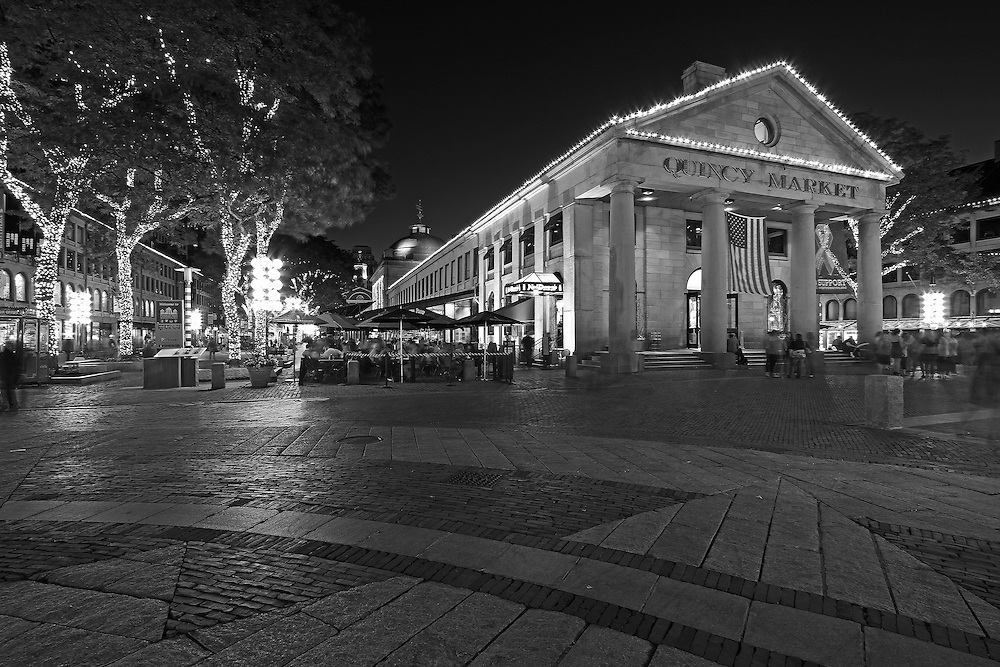 Boston B&amp;W photography of the famous Quincy Market in Downtown Boston. This historic and iconic New England city of Boston night scenery photography image is available as museum quality photography prints, canvas prints, acrylic prints or metal prints. Fine art prints may be framed and matted to the individual liking and decorating needs:<br /> <br /> http://juergen-roth.pixels.com/featured/boston-quincy-market-juergen-roth.html<br /> <br /> Good light and happy photo making! <br /> <br /> My best, <br /> <br /> Juergen<br /> Website: www.RothGalleries.com<br /> Twitter: @NatureFineArt<br /> Facebook: https://www.facebook.com/naturefineart<br /> Instagram: https://www.instagram.com/rothgalleries<br /> Photo Blog: http://whereintheworldisjuergen.blogspot.com