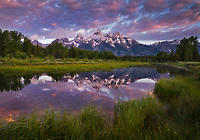 Colorful sunrise over the Teton range, Grand Teton National Park, Wyoming, USA