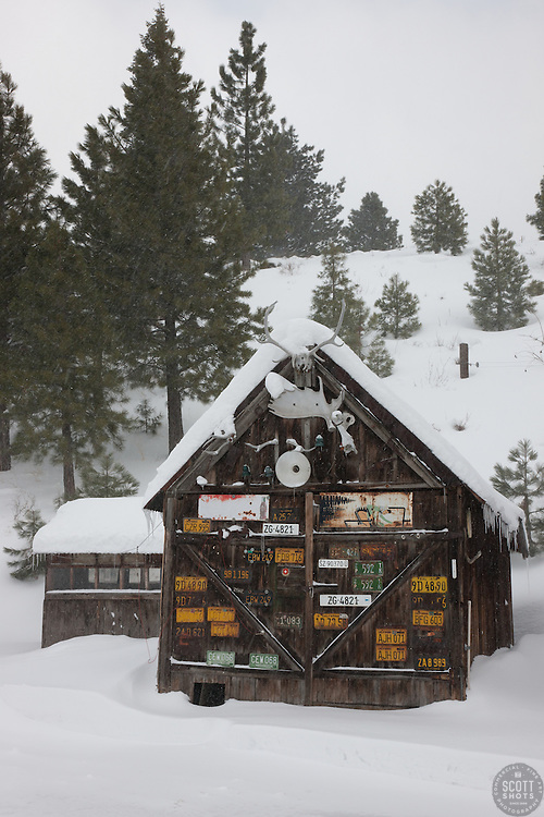 """Snowy Shack in Downtown Truckee 2"" - This sign and snow covered old shack was photographed in the early morning in Downtown Truckee, California."