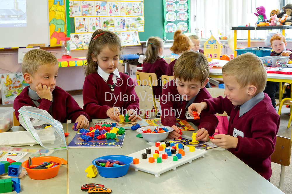 31/8/2011.Carlow Quads  Johnny, Lillie, Robbie and Jamie Maher aged 4 pictured at their first day at School in Ballon County Carlow...Picture Dylan Vaughan