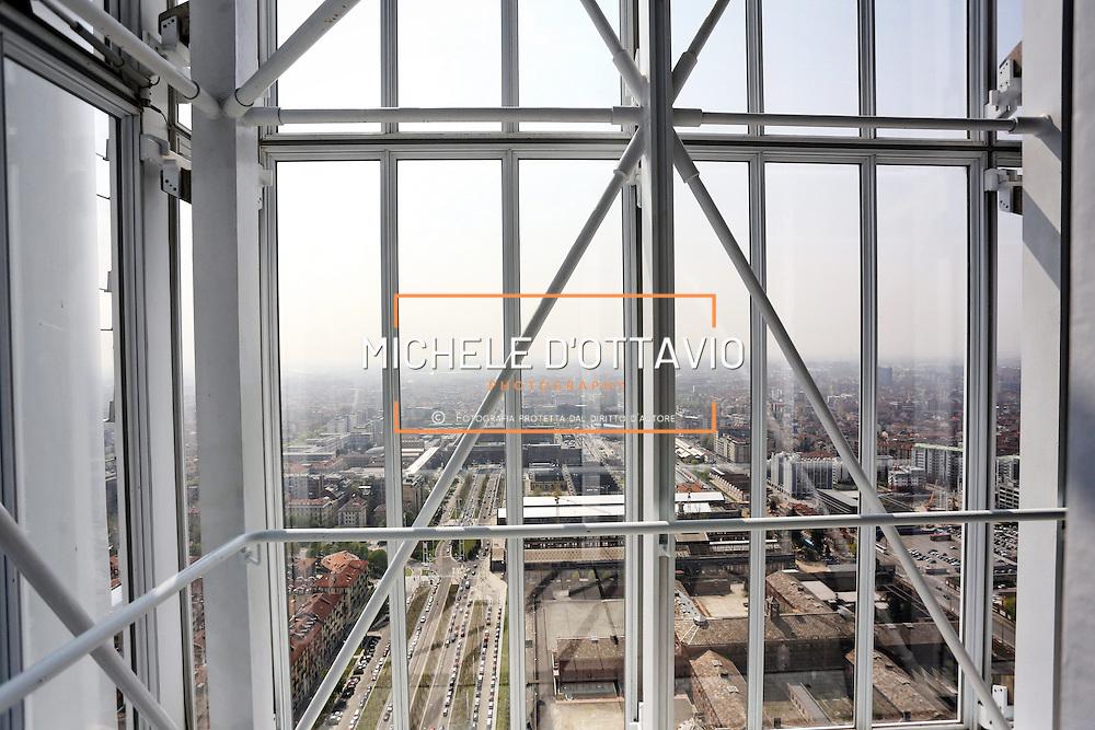 Interno della Serra Bioclimatica in cima al Grattacielo di Intesa Sanpaolo, 10 aprile 2015 Torino.