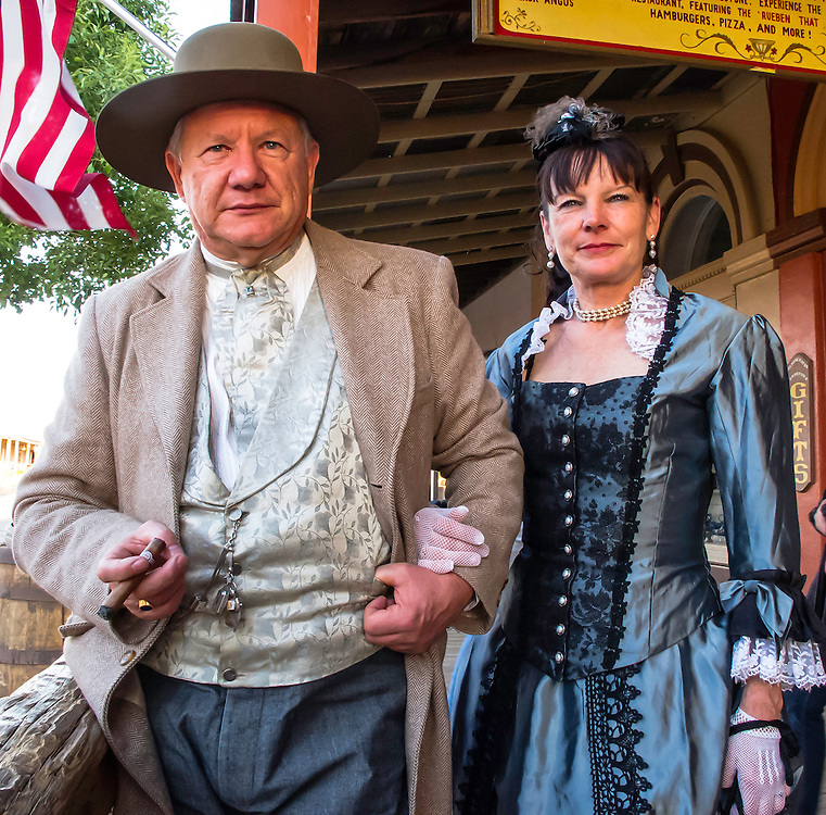 """Visitors to the 19th century Wild West. When I asked them to smile a little, he said """" in old pictures people rarely smiled""""  and this seems to be correct. Old Tombstone, Arizona."""