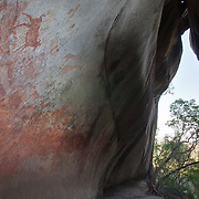 San bushman rock paintings, estimated at around 2000 years old, in Nswatugi Cave in Matobo National Park, Zimbabwe.