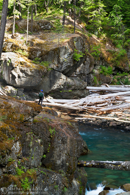 A hiker looks at the Silver Falls and Ohanapecosh River in Mount Rainier National Park in Washington State, USA.