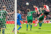 EINDHOVEN - PSV - SC Genemuiden , Voetbal , KNVB Beker , Seizoen 2015/2016 , Philips stadion , 25-10-2015 , PSV speler Hector Moreno (r) kopt de bal langs Genemuiden speler Albert Flier (l) en scoort daarbij het doelpunt voor de 5-0 uit een corner