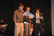 """Greg Earnest (left) as James O'Hanlon rehearses for """"Yes Virginia, There Is A Santa Claus"""" at the Powerhouse in Oxford, Miss. on Wednesday, December 12, 2012."""