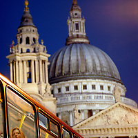 A bus on Fleet Street, with St. Paul's Cathedral in the background.