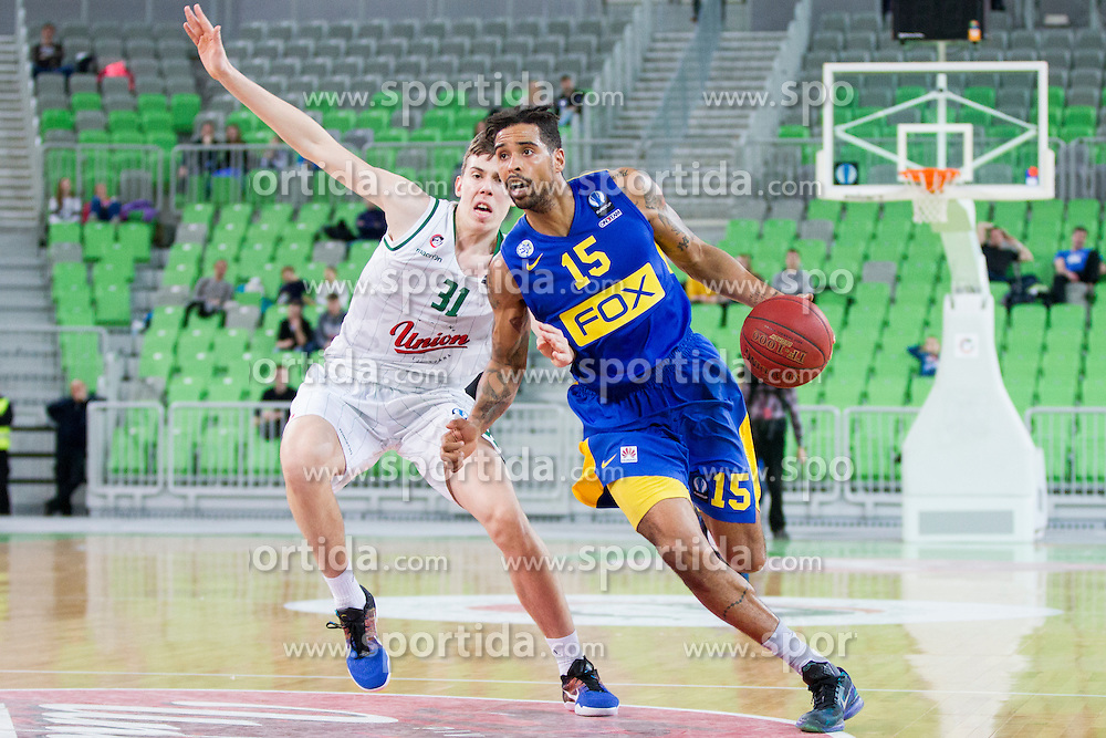 Vlatko Cancar #31 of KK Union Olimpija Ljubljana and Sylven Landesberg #15 of BC Maccabi Fox Tel Aviv during basketball match between KK Union Olimpija Ljubljana and BC Maccabi Fox Tel Aviv (ISR) in 5th Round of EuroCup LAST32, on February 3rd, 2016 in Arena Stozice, Ljubljana, Slovenia. Photo by Urban Urbanc/ Sportida
