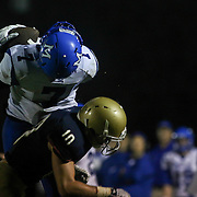 Middletown wide receiver Kenneth Edelin (7) catches a pass as Salesianum defensive back Griffin Salvo (10) defends in the fourth quarter Friday, Oct. 09, 2015 at Bernard Stadium in Wilmington, DE.