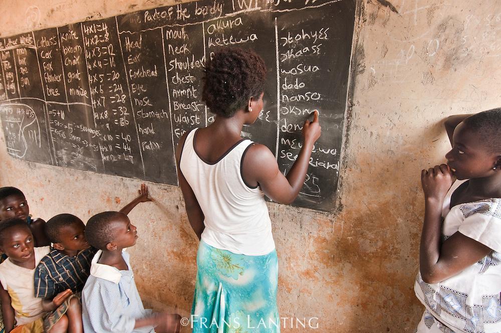 School teacher with children, Atobiase, Ghana