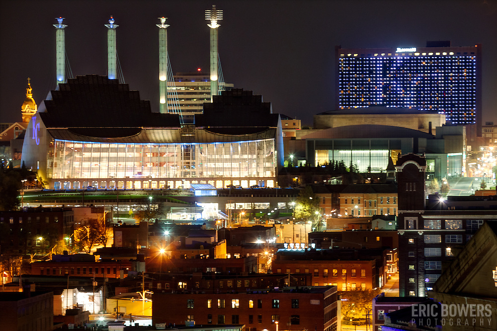 "Kansas City's Crossroads District area with buildings lit Royal Blue for Kansas City Royals 2014 World Series run. Kauffman Center, Convention Center ""Skystation"" pylons, Downtown Marriott Hotel."