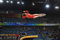 China's Cheng Fei competes on the vault of artistic gymnastics apparatus finals during the Olympic games in Beijing, China, 17 August 2008. Cheng won the bronze for the event.