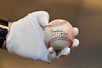 COOPERSTOWN, NY July 24: Detail view during Randy Johnson's 300th win ball during the white glove tour of the National Baseball Hall of Fame Museum in Cooperstown, NY. (Photo by Jennifer Stewart/Arizona Diamondbacks)