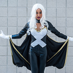 London, UK - 15 March 2014: Rio Small as Storm from X-Men poses for a picture during the London Super Comic Con at Excel.