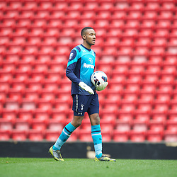 LIVERPOOL, ENGLAND - Easter Monday, April 1, 2013: Tottenham Hotspurs goalkeeper Lawrence Vigouroux in action against Liverpool during the Under 21 FA Premier League match at Anfield. (Pic by David Rawcliffe/Propaganda)