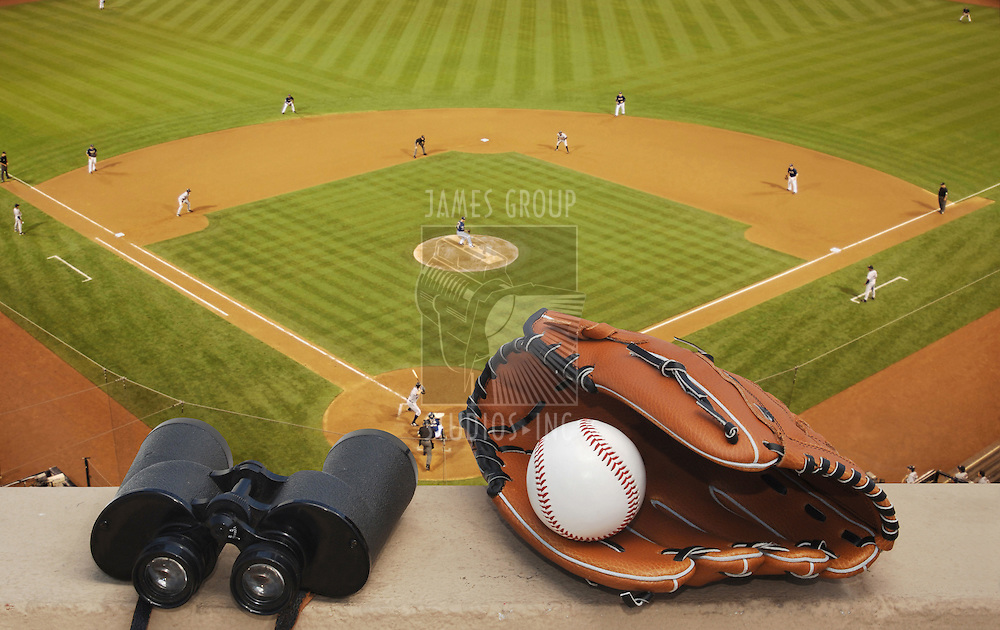 baseball glove, baseball, binoculars and baseball diamond