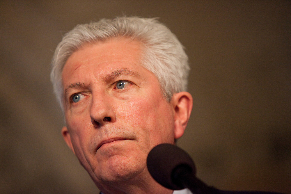 Block Quebecois leader Gilles Duceppe speaks to the media at a press conference in the foyer of the House of Commons in Ottawa, Canada following the fall of the Conservative government in a non confidence vote March 25, 2011. <br /> AFP/GEOFF ROBINS/STR
