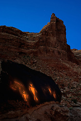 Anasazi petroglyphs painted with light from a flashlight. Cedar Mesa, Utah.