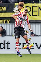 ROTTERDAM - Sparta - Vitesse , Voetbal , Eredivisie , Seizoen 2016/2017 , Het Kasteel , 11-12-2016 ,  eindstand 3-1 , Sparta speler Stijn Spierings (r) in kop duel met Vitesse speler Kosuke Ota (l)