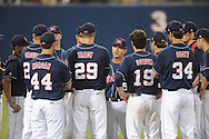 Mississippi coach Mike Bianco talks to the pitchers on the team following a 18-4 loss during a college baseball in Oxford, Miss. on Friday, May 21, 2010. (AP Photo/Oxford Eagle, Bruce Newman)