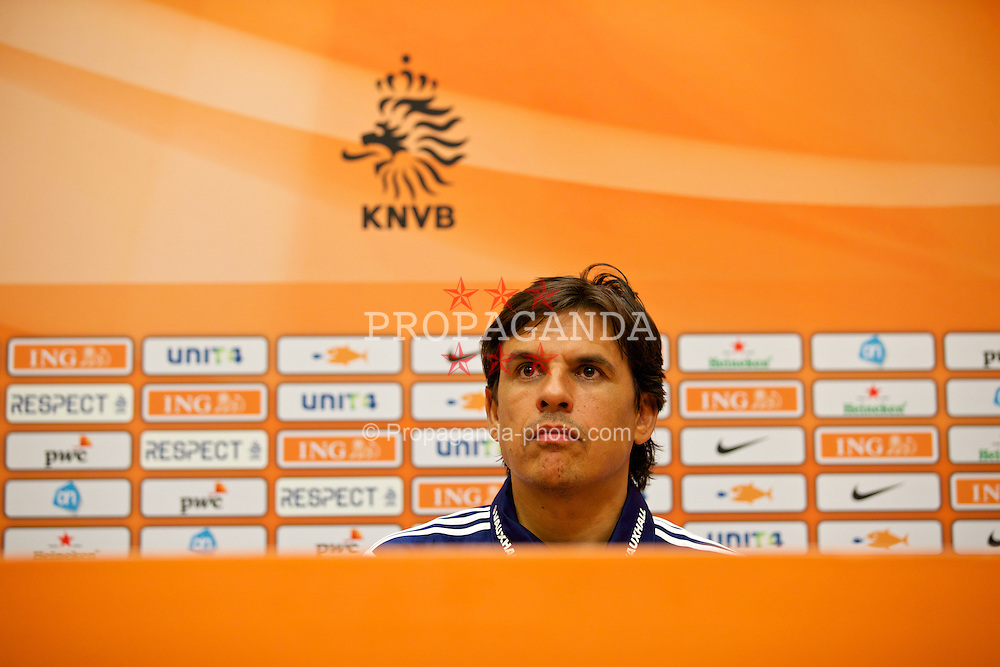 AMSTERDAM, NETHERLANDS - Tuesday, June 3, 2014: Wales' manager Chris Coleman during a press conference at the Amsterdam Arena ahead of the International Friendly match against the Netherlands. (Pic by David Rawcliffe/Propaganda)