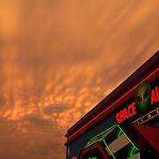 Ominous skies over the Space Aliens Grill and Bar in Bismarck, North Dakota, seem to suggest  a celestial invasion.  The restaurant franchise has four properties in North Dakota and neighboring Minnesota.  photo by David Peterson